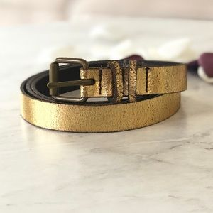 Gap Metallic Gold Distressed Skinny Leather Belt